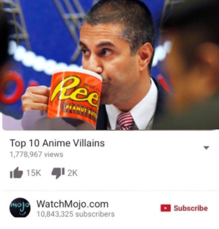 Funny meme about Ajit Pai being in the top ten anime villains.