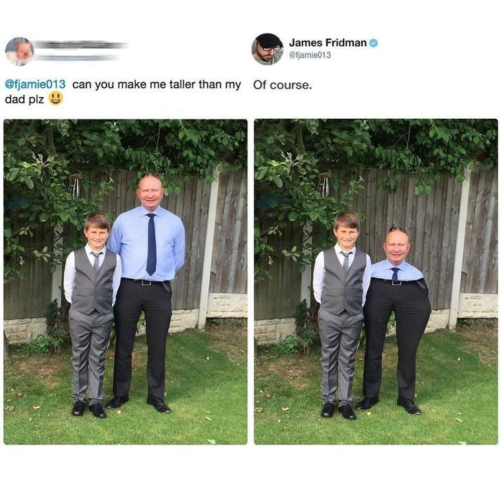Photograph - James Fridman efjamie013 @fjamie013 can you make me taller than my dad plz Of course.