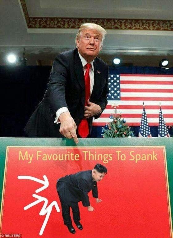 Trump meme about spanking Kim Jong un