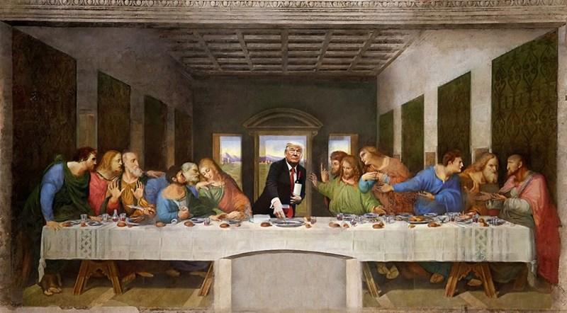 Trump meme of him as Jesus in the Last Supper