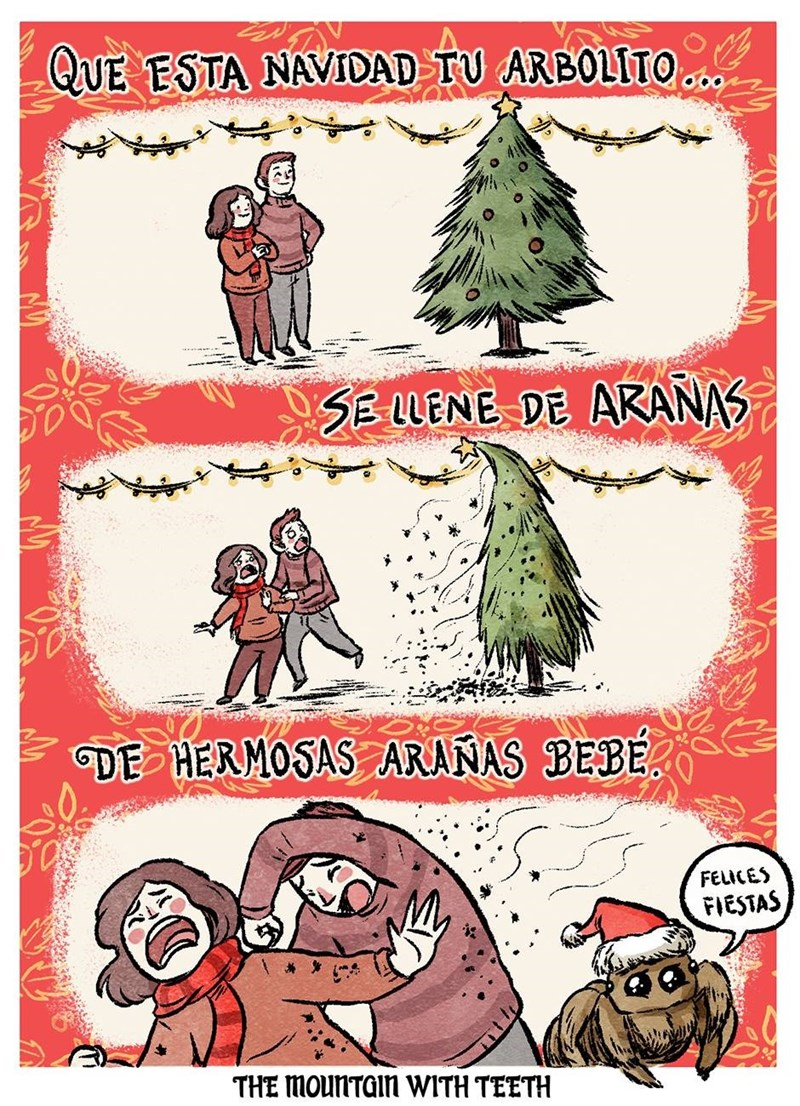 arbolito de navidad lleno de aranas