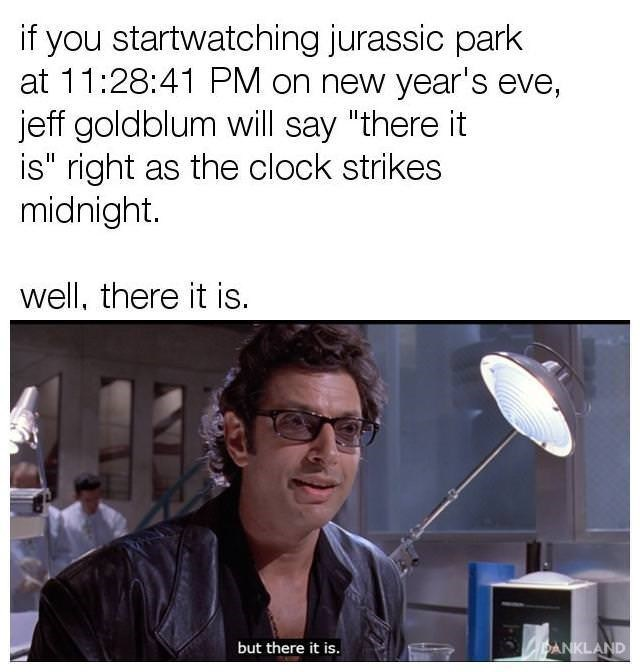 """meme - Organism - if you startwatching jurassic park at 11:28:41 PM on new year's eve, jeff goldblum will say """"there it is"""" right as the clock strikes midnight. well, there it is. DANKLAND but there it is."""