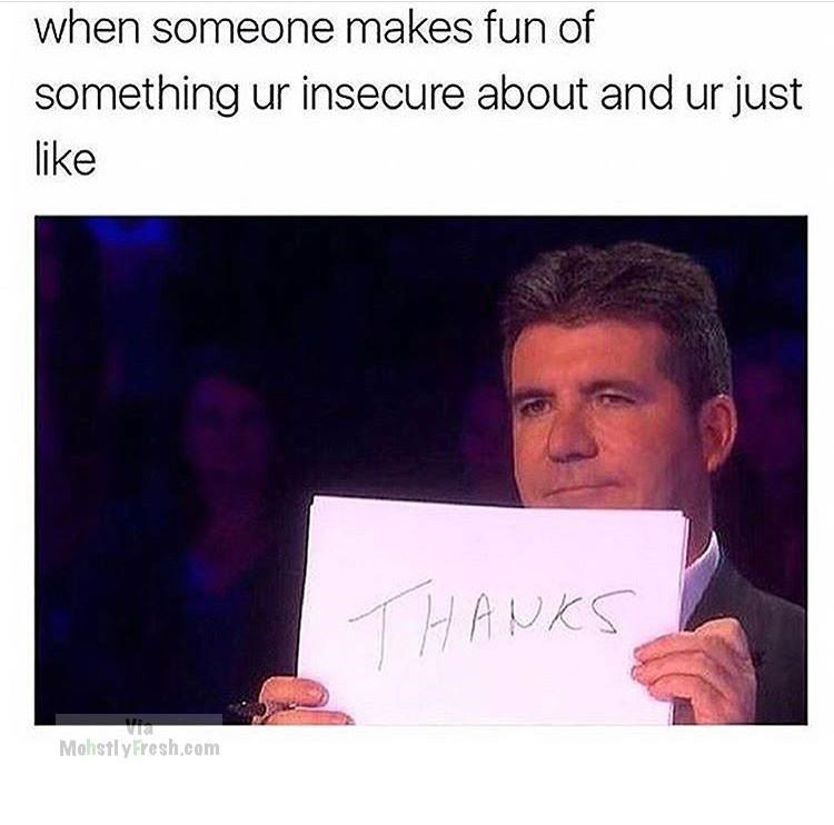 meme - Text - when someone makes fun of something ur insecure about and ur just like THANKS Via Mohstly Fresh.com