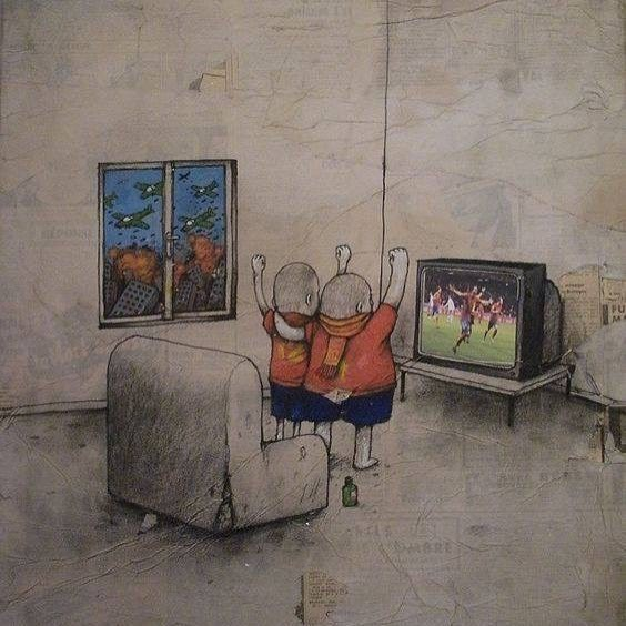 clever comic of people watching a soccer game while there is chaos and war outside their window