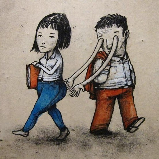 clever comic of a man looking at a woman but arms are coming out of his eyes and attempting to grab the woman