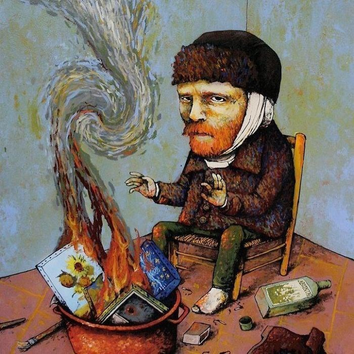 clever comic of van gogh burning his paintings