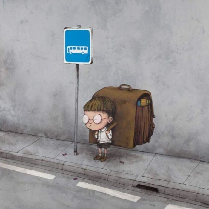 clever comic of a kid standing at a bus stop with a huge backpack double his size