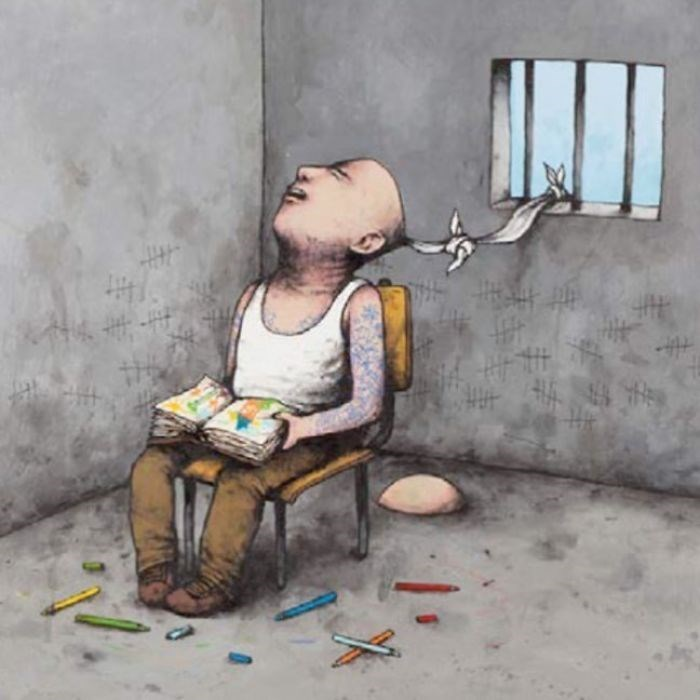 clever comic of a man in a jail cell sitting with a book and tied to the window +