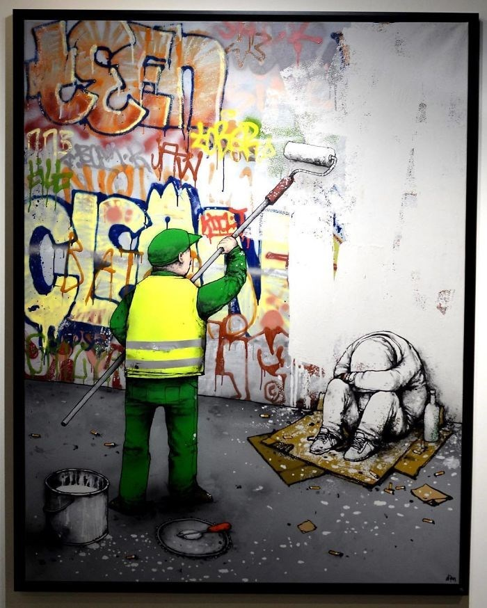 clever comic of a man painting over street art