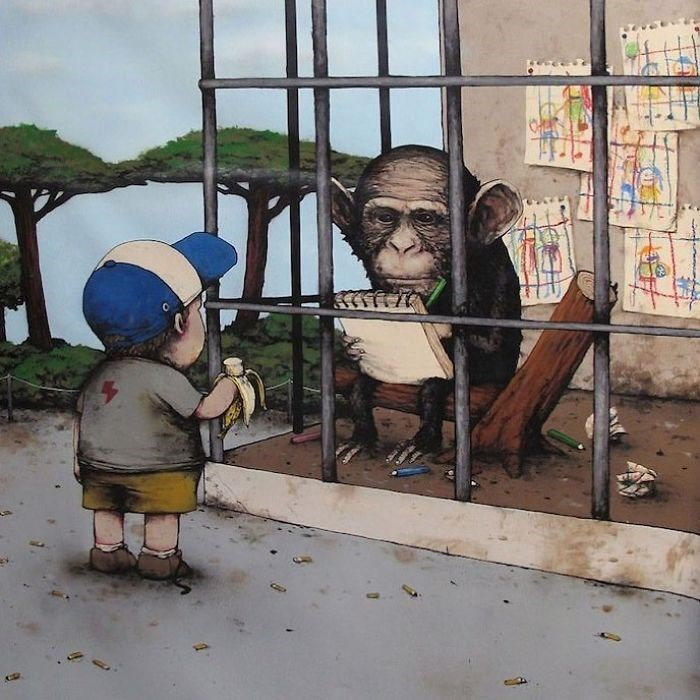 clever comic of a monkey in a zoo drawing the kid who is looking at him