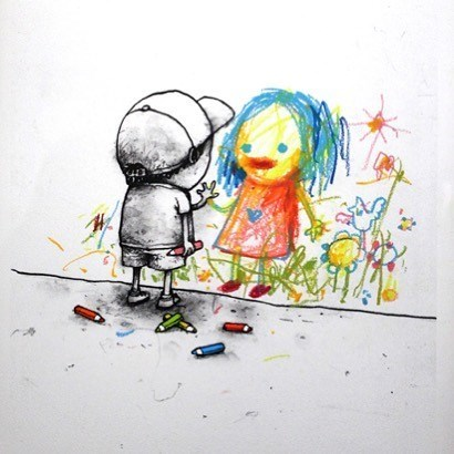 clever comic of a boy drawing a girl who is bright and colorful and he is black and white