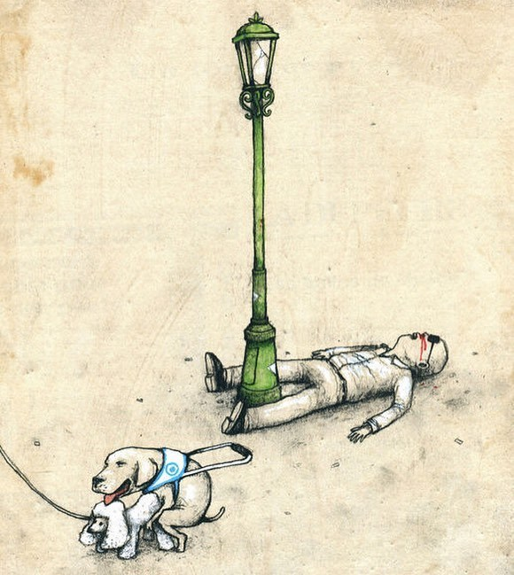 clever comic of a dog engaging in intercourse while the owner is passed out on the floor with a pole between his legs