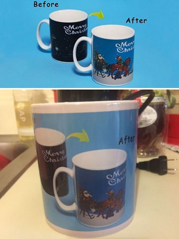 Christmas design fail for a mug that has the before and after image on the mug