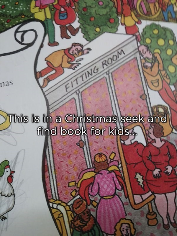 Christmas design fail of a children's book that has a woman's dress ripped