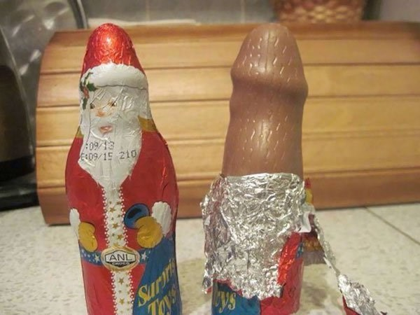 Christmas design fail of a Santa chocolate in the shape of male genitals