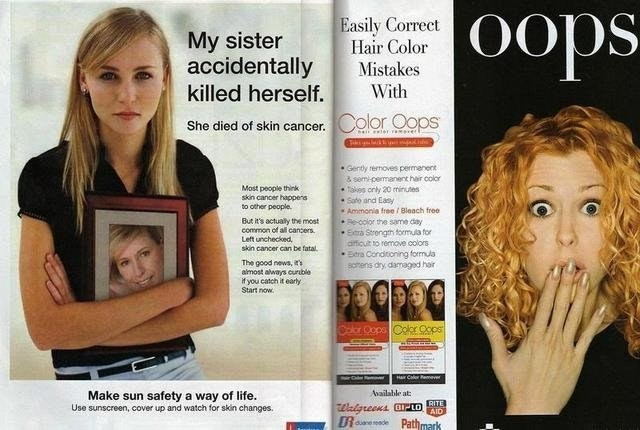 "ad with the word ""oops"" written in large font next to an article about a woman dying accidentally"