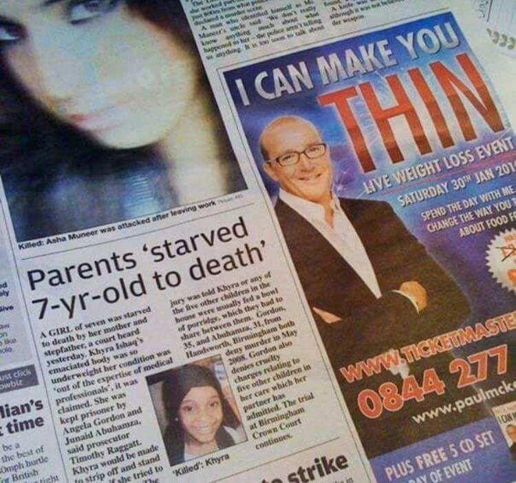 ad for a weight loss program next to news report about a starved child