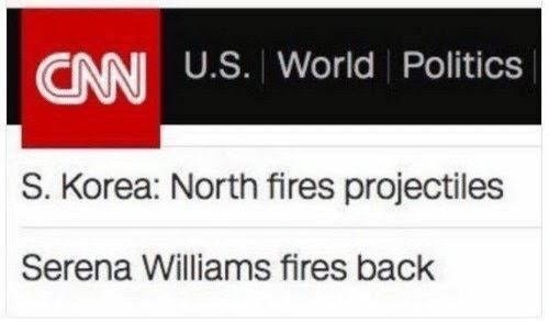 headline about Korea firing missiles above headline about tennis player Serena Williams