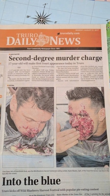 headline about a murder case above photos of man in a pie eating contest