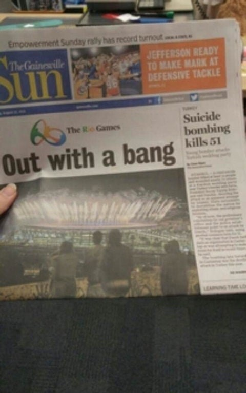 "headline about ""going out with a bang"" next to report about suicide bombing"