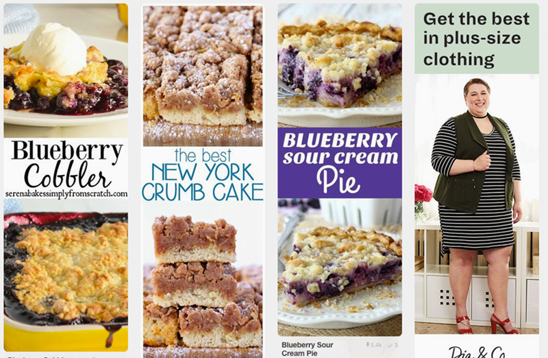 ad for plus size clothing next to article about cake recipes