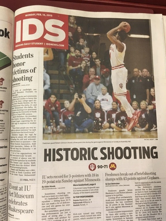 articles about school shooting and basketball games that appear to share the same headline