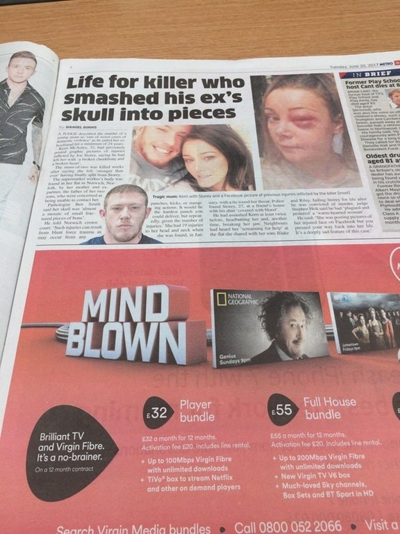 "report about man smashing woman's skull above ad titled ""mind blown"""