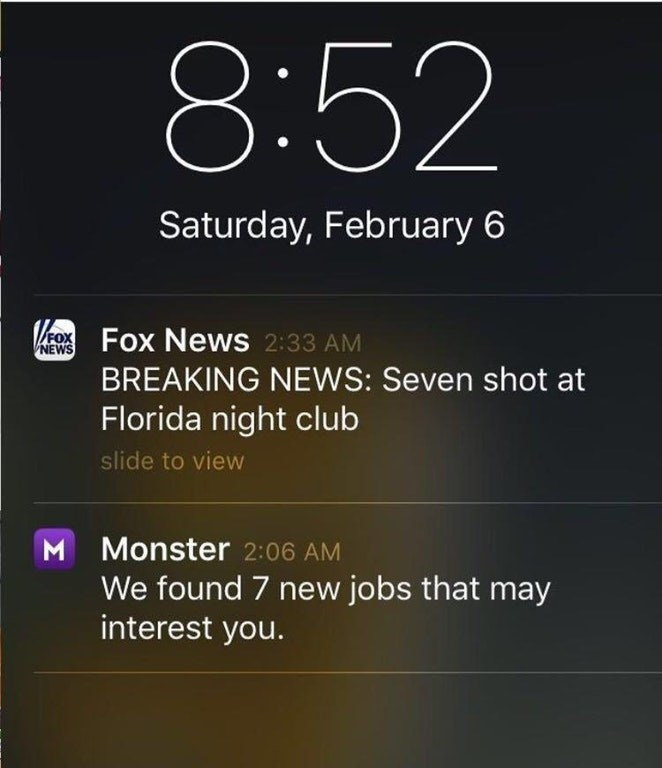 headline about 7 people dying in shooting followed by ad for 7 new available jobs