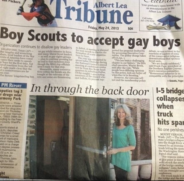 "headline about gay scouts above news article titled ""in through the back door"""