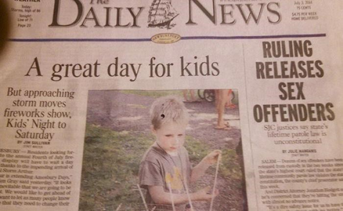 article about sex offenders going free next to headline about kids having a great day