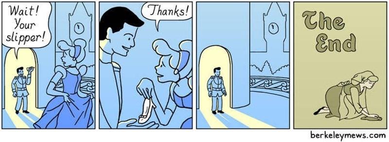 Cartoon - (Thanks! Wait! your slipper! The End berkeleymews.com