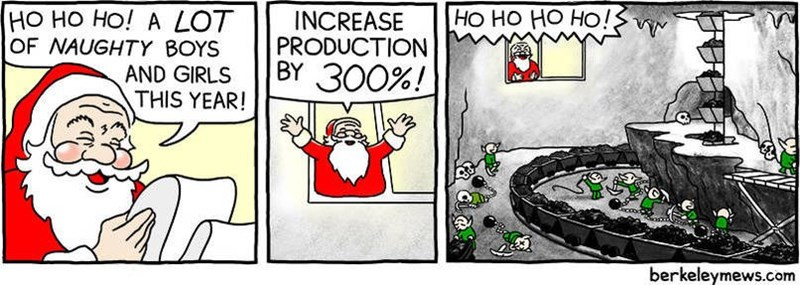 Cartoon - НО НО НО НО! НО но Но! А LOT OF NAUGHTY BOYS AND GIRLS THIS YEAR! INCREASE PRODUCTION BY 300%! berkeleymews.com