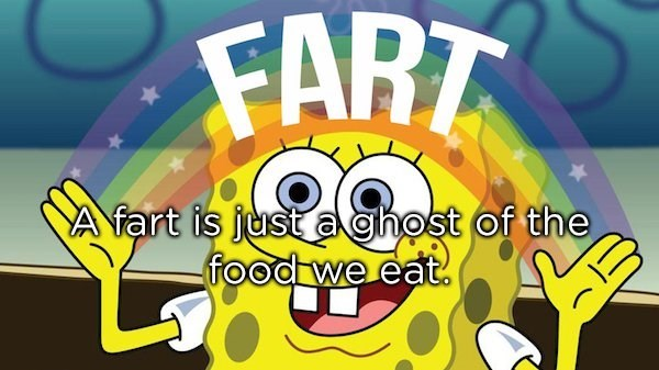 Animated cartoon - FART A fart is just a ghost of the food we eat.