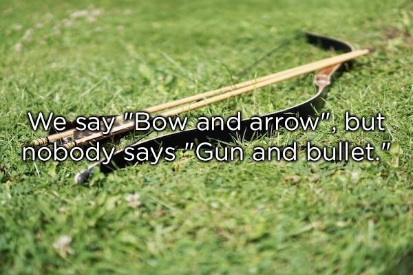 Grass - We say BovWand arrow, but nobody saysGun and bullet