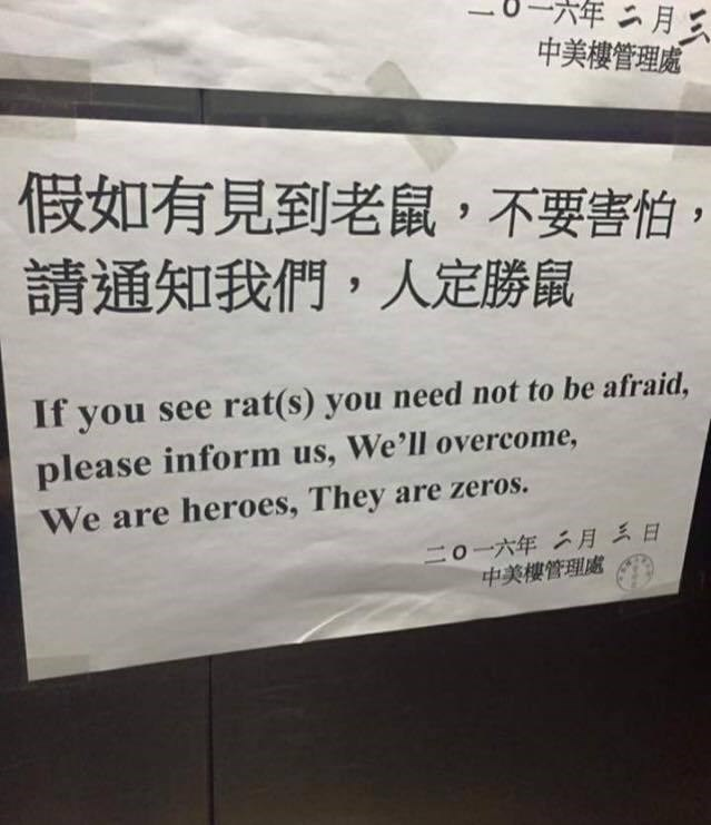 Funny sign about rats.