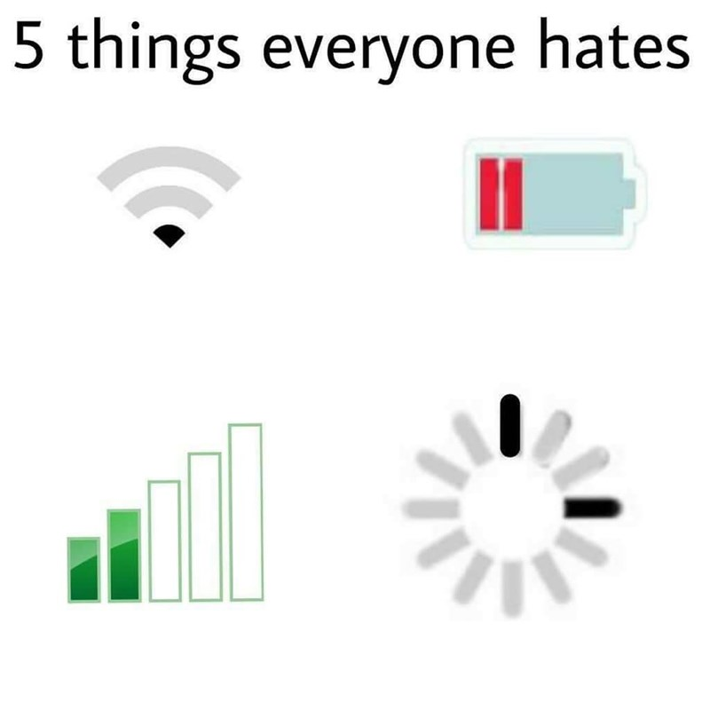 Funny meme about everything people hate, battery dying, low wifi.