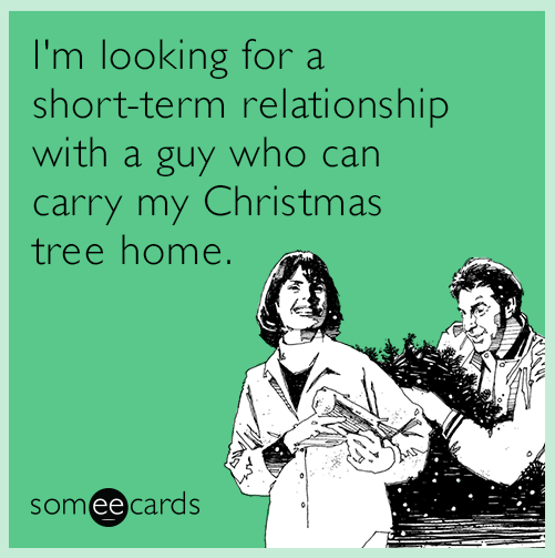 Text - I'm looking fora short-term relationship with a guy who can carry my Christmas tree home. someecards