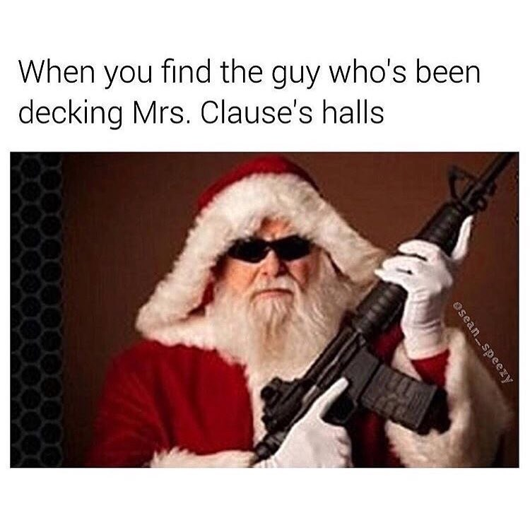 Funny meme about santa claus with gun.