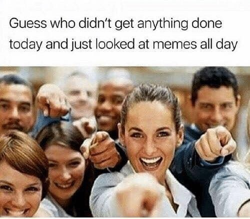 Funny meme about looking at memes all day.