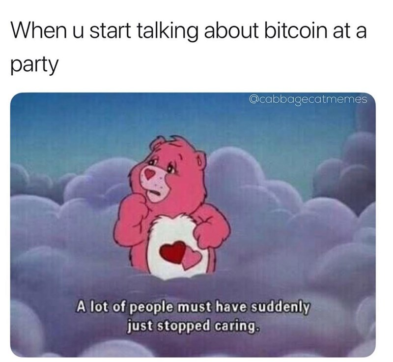 Funny meme about talking about bitcoin at a party.