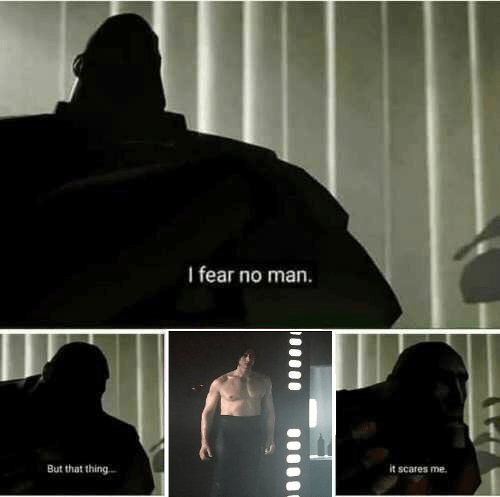 Funny meme about being scared of shirtless kylo ren.