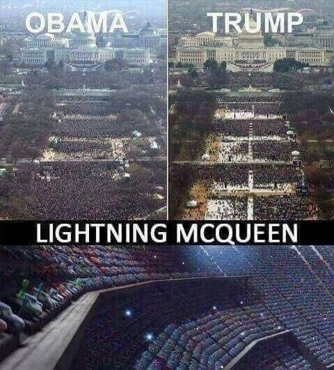 Funny meme about lightning mcqueen, obama and trump.