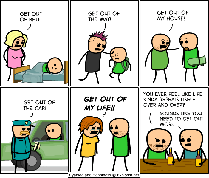 funny cyanide and happiness comic about getting out more.
