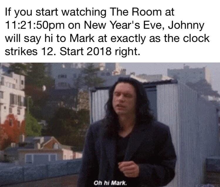 Funny meme about the room and new years eve.