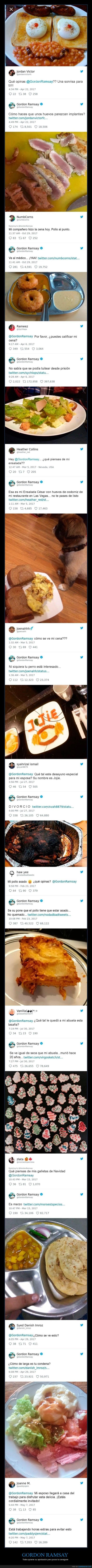 Gordon Ramsay respuestas en twitter a sus seguidores