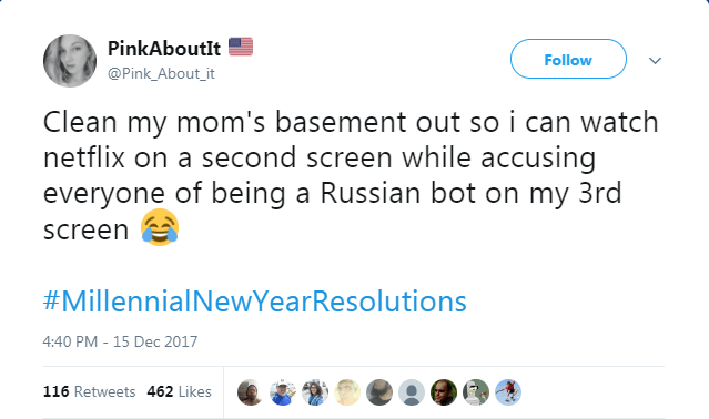 Text - PinkAboutIt Follow @Pink_About_it Clean my mom's basement out so i can watch netflix on a second screen while accusing everyone of being a Russian bot on my 3rd screen #MillennialNewYearResolutions 4:40 PM - 15 Dec 2017 116 Retweets 462 Likes