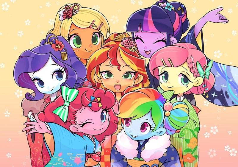 ikirunosindo applejack equestria girls new years twilight sparkle pinkie pie rarity sunset shimmer fluttershy rainbow dash - 9109205760