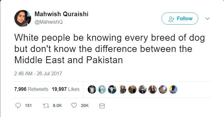 Text - Mahwish Quraishi Follow @MahwishQ White people be knowing every breed of dog but don't know the difference between the Middle East and Pakistan 2:46 AM - 26 Jul 2017 7,996 Retweets 19,997 Likes t 8.0K 151 20K