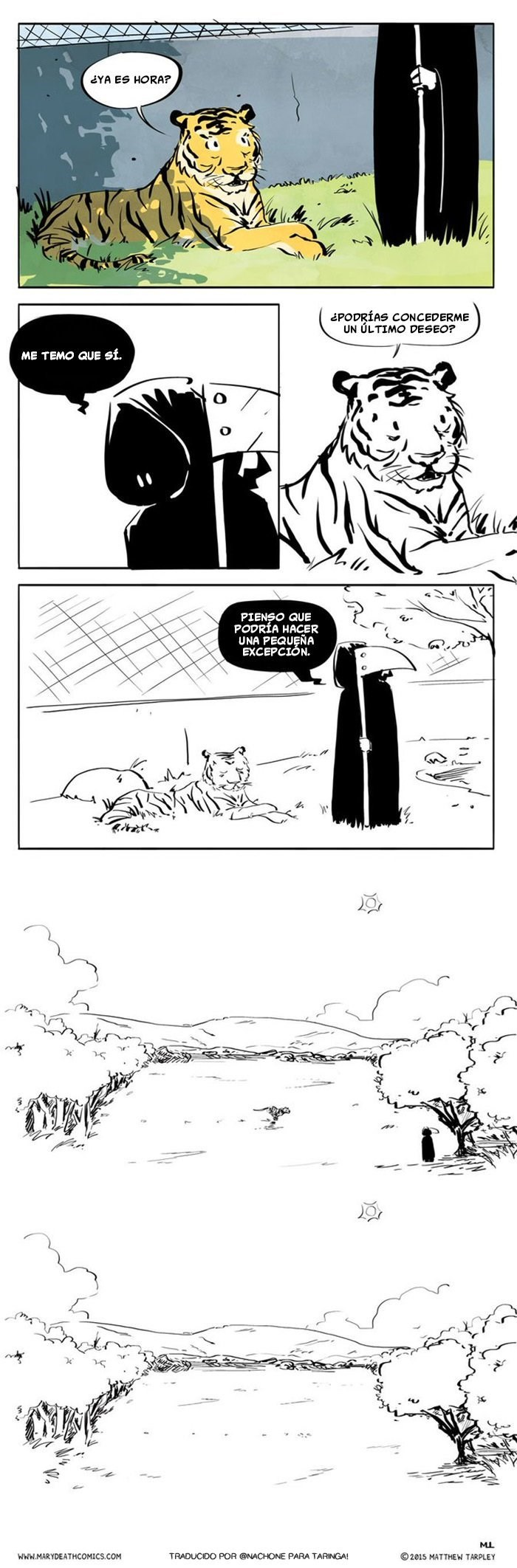 el momento en el que la muerte llega a llevarse a un tigre