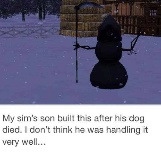 Snow - My sim's son built this after his dog died. I don't think he was handling it very well...